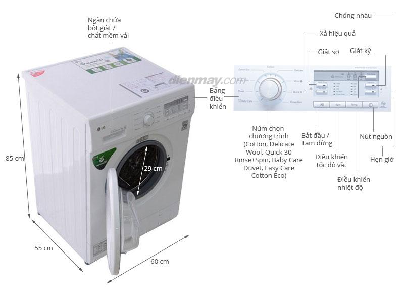 Thông số kỹ thuật Máy giặt LG 7 kg WD-8600