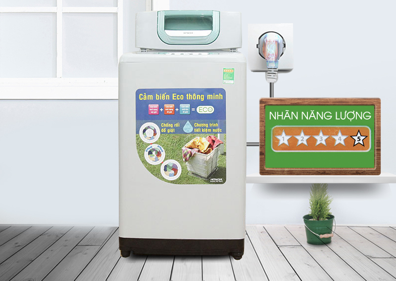 Giúp máy giặt Hitachi SF-80P làm sạch áo quần tối ưu mà vẫn tiết kiệm điện và nước