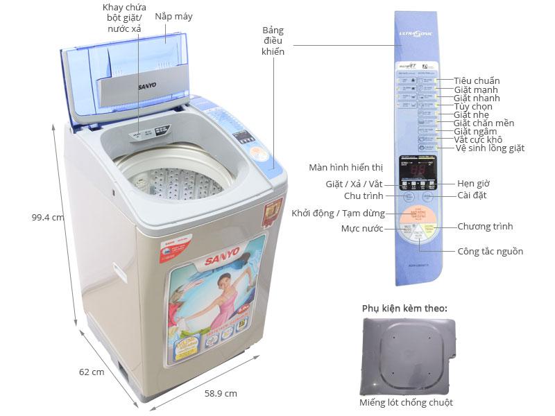 Thông số kỹ thuật Máy giặt Sanyo ASW-U800Z1T 8kg