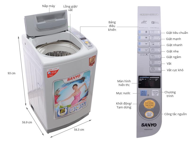 Thông số kỹ thuật Máy giặt Sanyo ASW-S70KT 7kg
