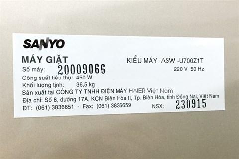 Máy giặt Sanyo ASW-U700Z1T 7kg