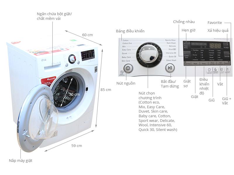 Thông số kỹ thuật Máy giặt LG 8 kg WD-14660