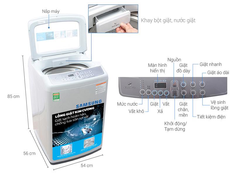 Thông số kỹ thuật Máy giặt Samsung 7.2 kg WA72H4000SG/SV