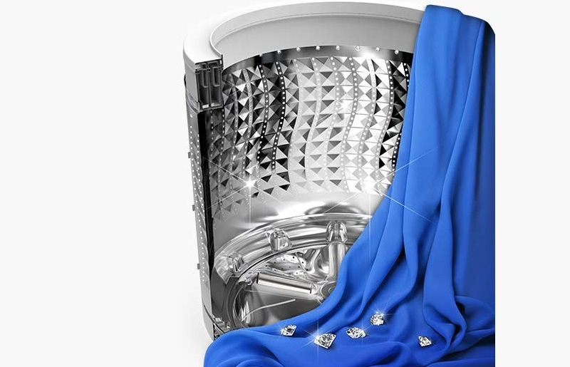 Lồng giặt kim cương bảo vệ an toàn cho quần áo trong khi giặt
