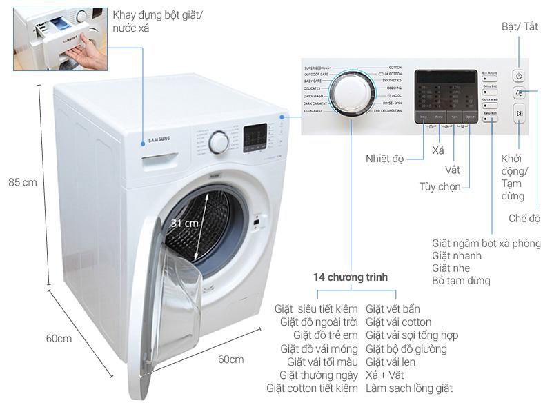 Thông số kỹ thuật Máy giặt Samsung 8 kg WW80H5290EW/SV