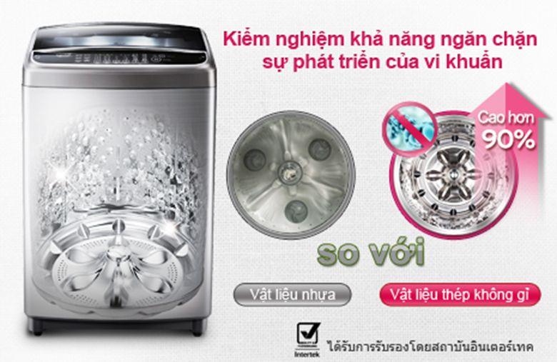 Măm giặt và lồng giặt bằng thép không gỉ ngăn chặn vi khuẩn cao hơn vật liệu bằng nhựa.