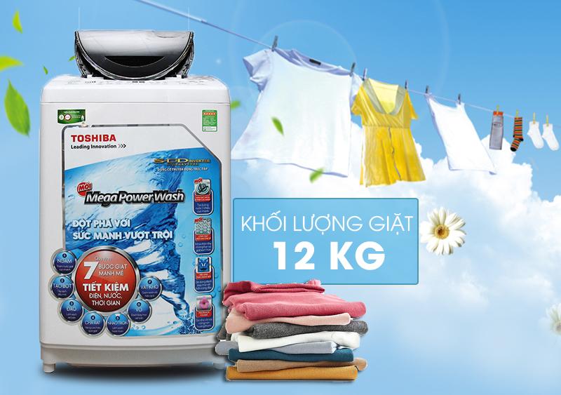 Với thiết kế hiện đại và sang trọng, cùng cửa trên máy giặt trong suốt, máy giặt Toshiba AW-DC1300WV