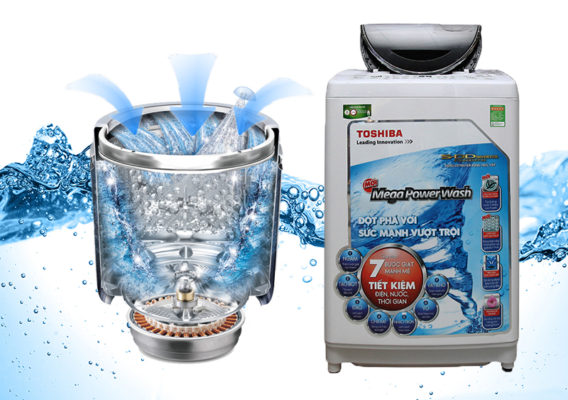 Công nghệ lồng giặt ngôi sao pha lê của máy giặt Toshiba AW-DC1300WV với các gờ nổi trên thành lồng giặt