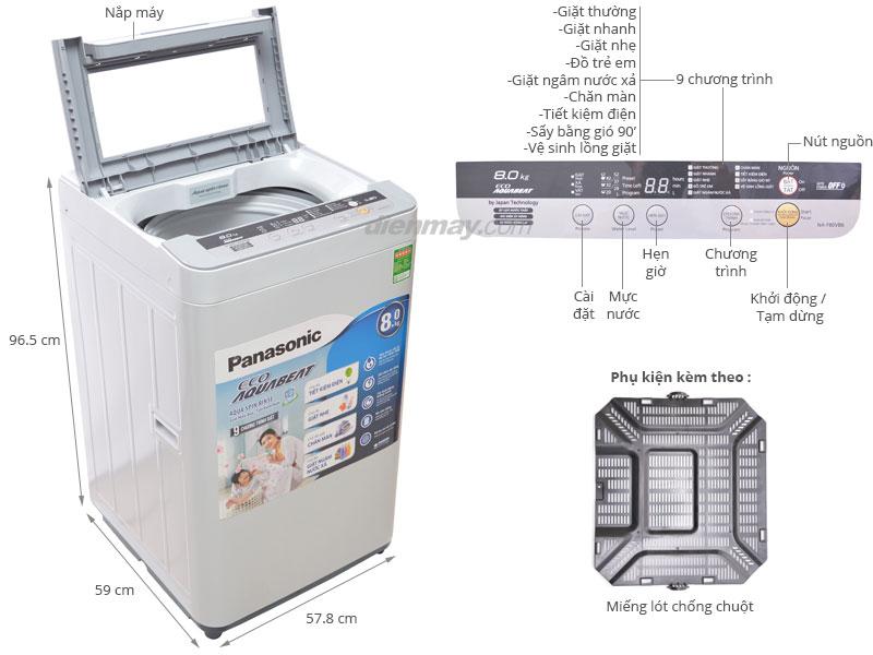 Thông số kỹ thuật Máy giặt Panasonic NA-F80VB6HRV 8kg