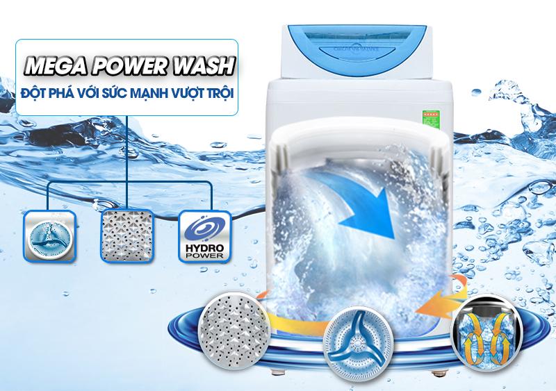 Với công nghệ giặt Mega Power sở hữu mâm giặt ba cánh