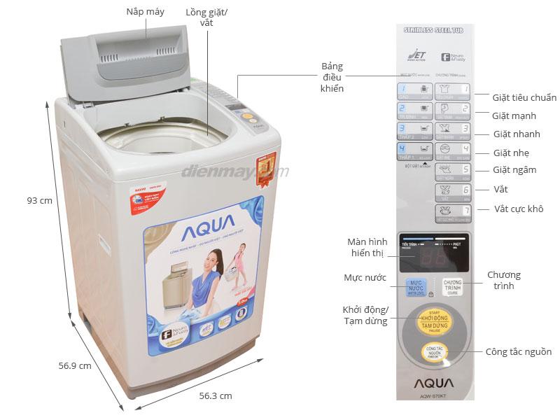 Thông số kỹ thuật Máy giặt AQUA AQW-S70KT 7kg