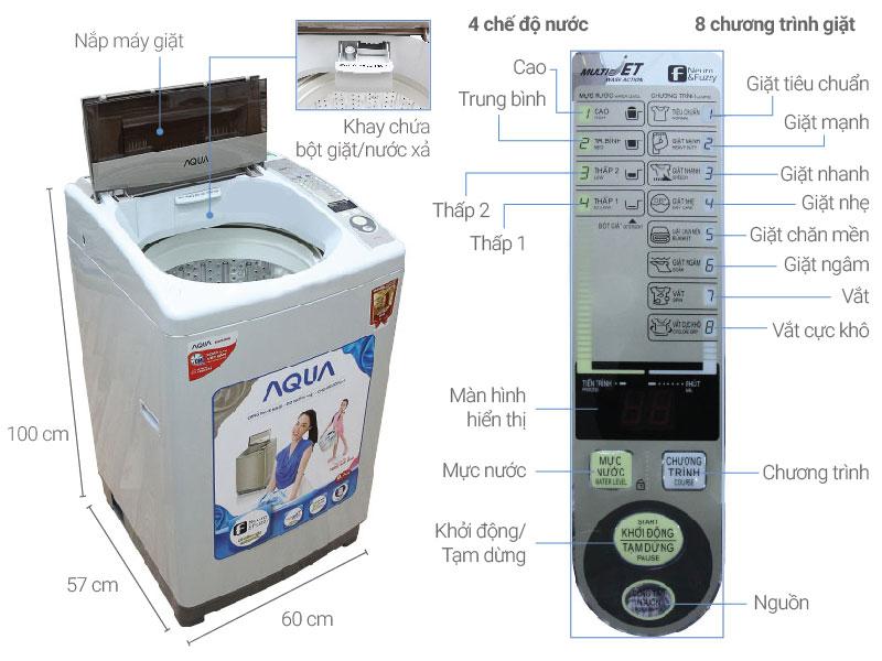 Thông số kỹ thuật Máy giặt AQUA 8kg AQW-S80KT