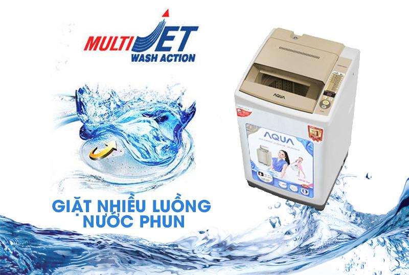 Với công nghệ Multi Jet phun nhiều luồng nước mạnh mẽ, các vết bẩn cứng đầu sẽ nhanh chóng bị máy giặt AQUA AQW-S80KT đánh văng ra