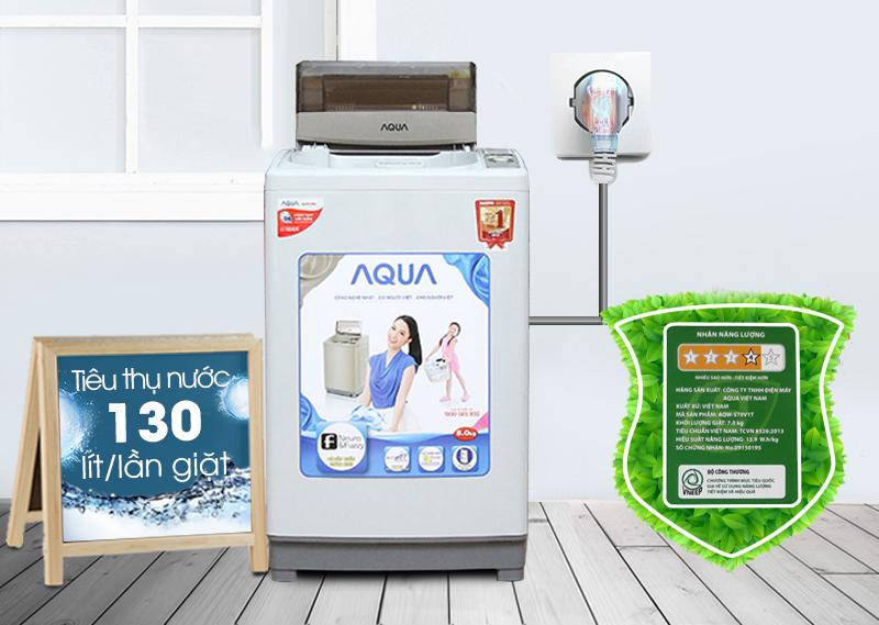 Máy giặt AQUA AQW-S80KT tiết kiệm điện năng và nước tối ưu