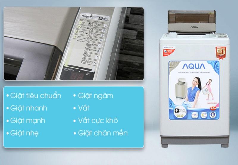 Nhiều chương trình giặt khác nhau của máy giặt AQUA AQW-S80KT sẽ giúp cho người dùng có thể tùy chỉnh máy giặt dễ dàng