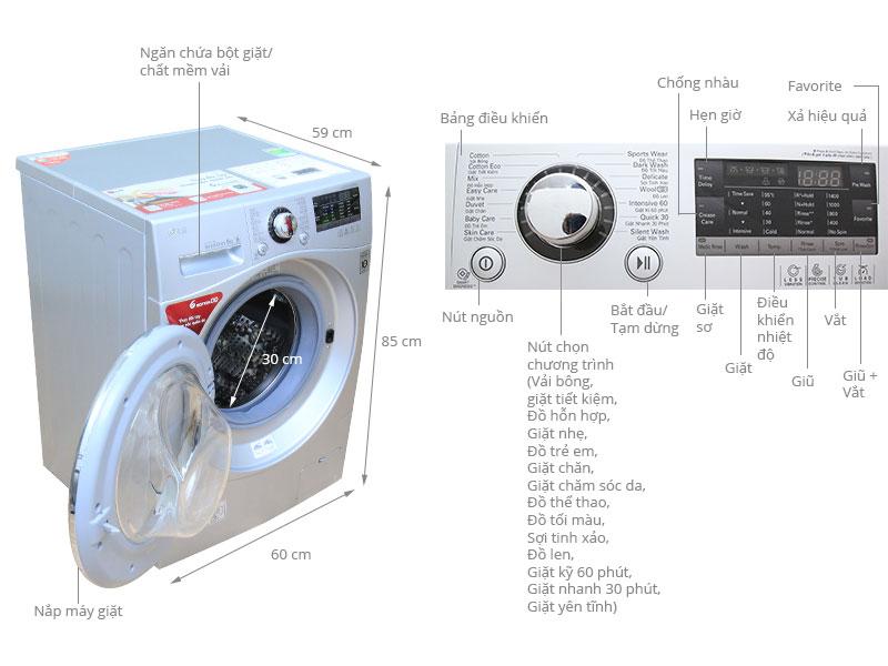 Thông số kỹ thuật Máy giặt LG WD-16600 9kg
