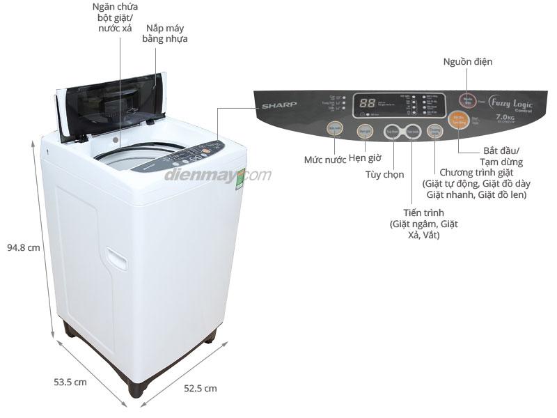 Thông số kỹ thuật Máy giặt Sharp 7kg ES-S700EV