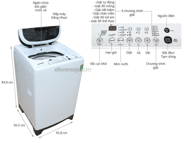 Thông số kỹ thuật Máy giặt Sharp ES-S800EV 8kg