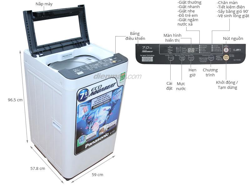 Thông số kỹ thuật Máy giặt Panasonic 7 kg NA-F70VB6HDK