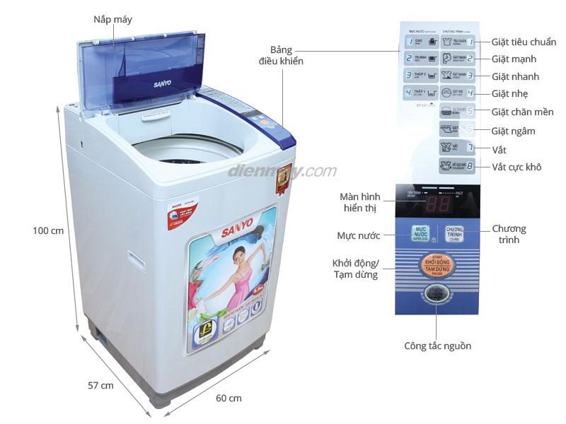 Thông số kỹ thuật Máy giặt Sanyo 8.5 kg ASW-S85ZT