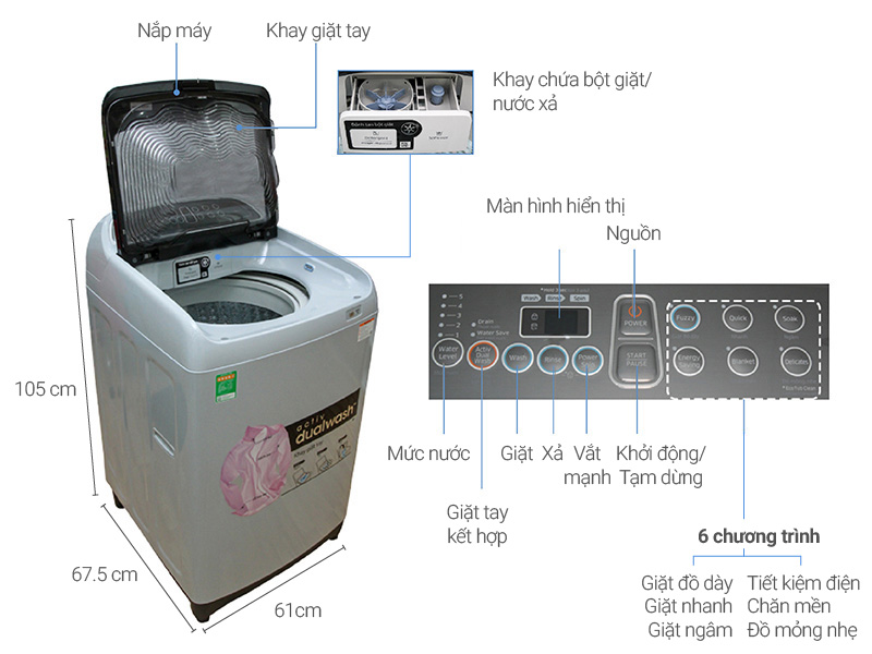 Thông số kỹ thuật Máy giặt Samsung 10 kg WA10J5710SG/SV