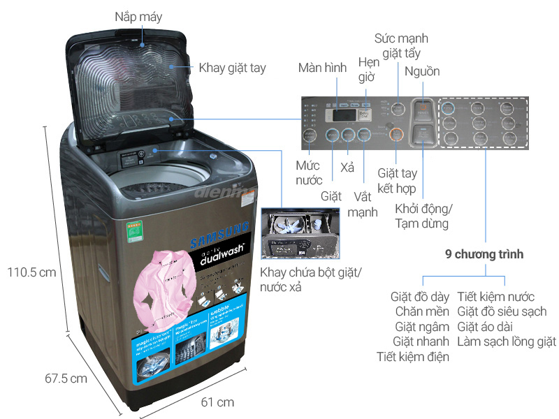 Thông số kỹ thuật Máy giặt Samsung Inverter 12 Kg WA12J5750SP/SV