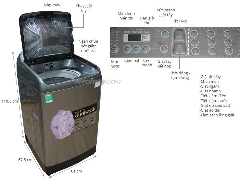 Thông số kỹ thuật Máy giặt Samsung WA12J5750SP/SV 12 Kg