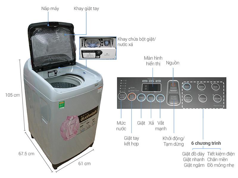 Thông số kỹ thuật Máy giặt Samsung 9 kg WA90J5710SG/SV