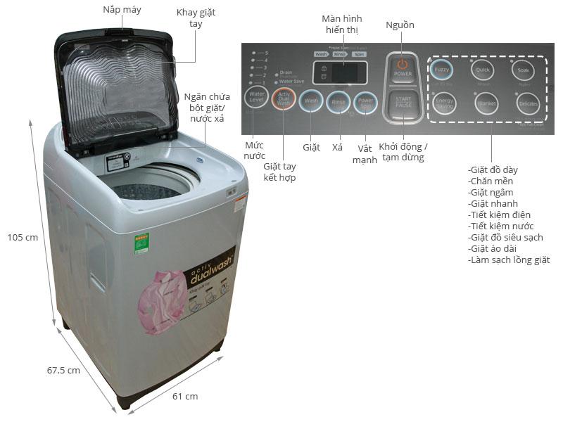 Thông số kỹ thuật Máy giặt Samsung WA90J5710SG/SV 9 Kg