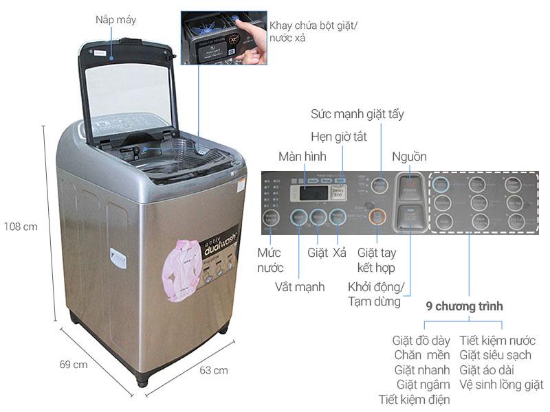 Thông số kỹ thuật Máy giặt Samsung Inverter 14 Kg WA14J6750SP/SV