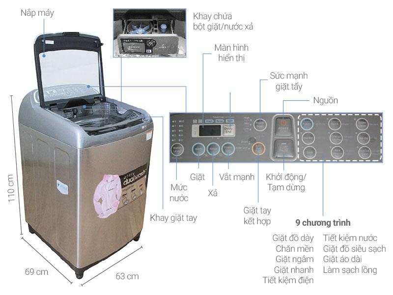 Thông số kỹ thuật Máy giặt Samsung Inverter 16 kg WA16J6750SP/SV