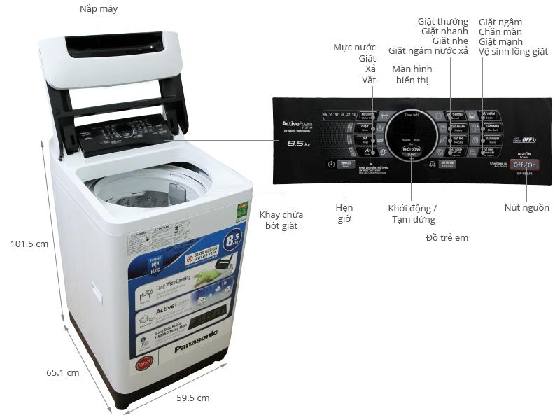 Thông số kỹ thuật Máy giặt Panasonic 8.5 kg NA-F85A1WRV