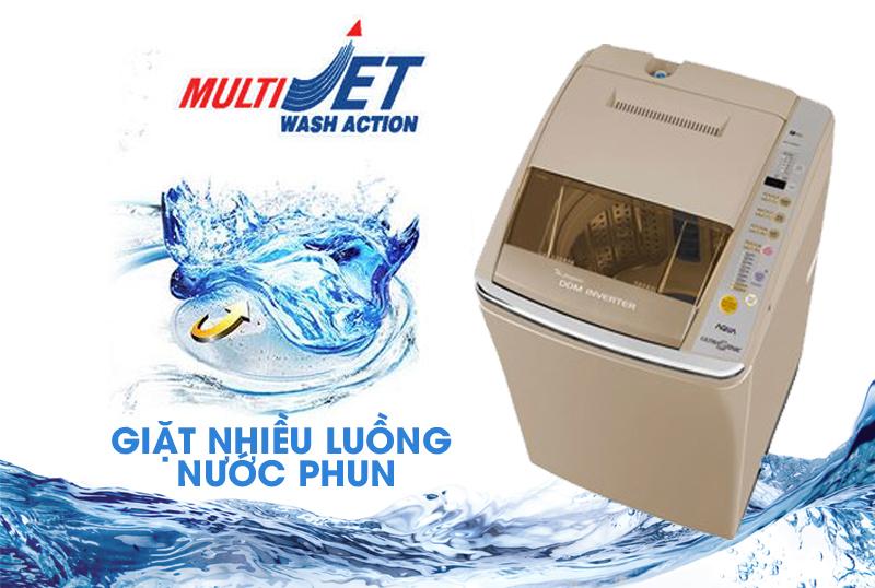 Với máy giặt Aqua AQW-DQ900HT cùng tính năng giặt Multi Jet nhiều luồng nước