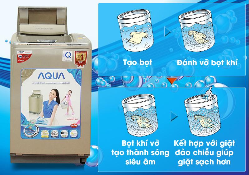 Máy giặt Aqua AQW-DQ900HT còn có công nghệ sóng siêu âm