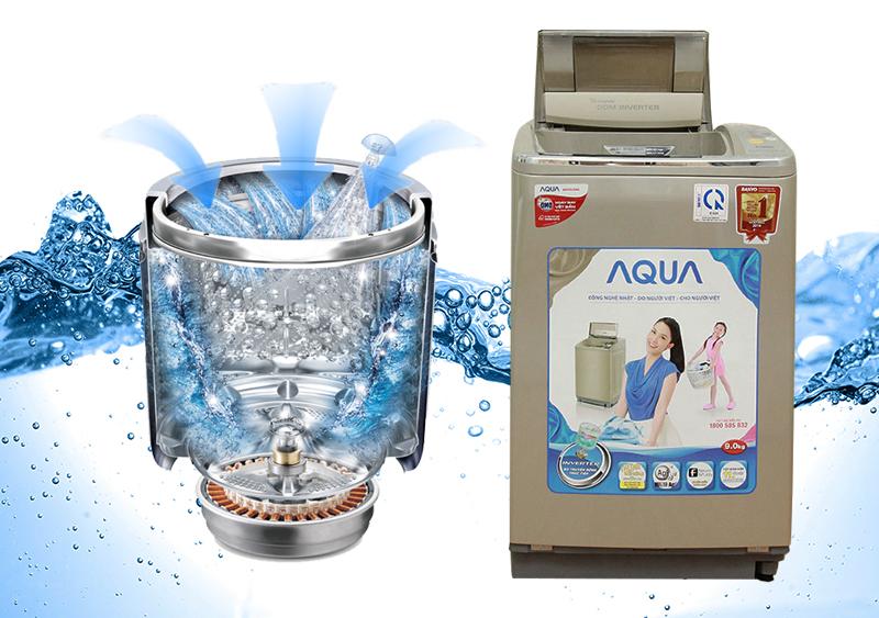 Động cơ DDM Inverter của máy giặt Aqua AQW-DQ900HT không chỉ giúp gia đình bạn tiết kiệm tiền điện và nước