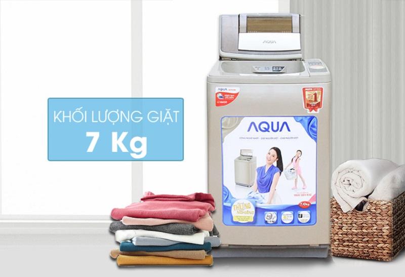 Thiết kế máy giặt Aqua AQW-F700Z1T nổi bật với sự pha màu giữa cửa máy giặt và thân máy độc đáo