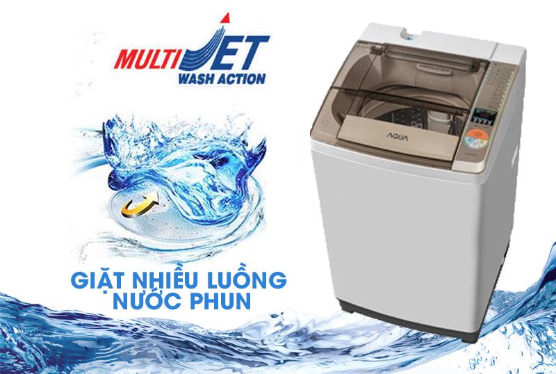 Với máy giặt Aqua AQW-F700Z1T, người dùng sẽ có khả năng chăm sóc áo quần tốt hơn nhờ chế độ Multi Jet với nhiều luồng nước phun từ nhiều phía