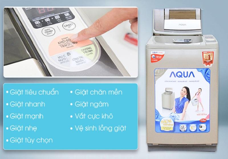 Nhiều chương trình giặt khác nhau của máy giặt Aqua AQW-F700Z1T sẽ tăng thêm sự đa dạng cho người dùng
