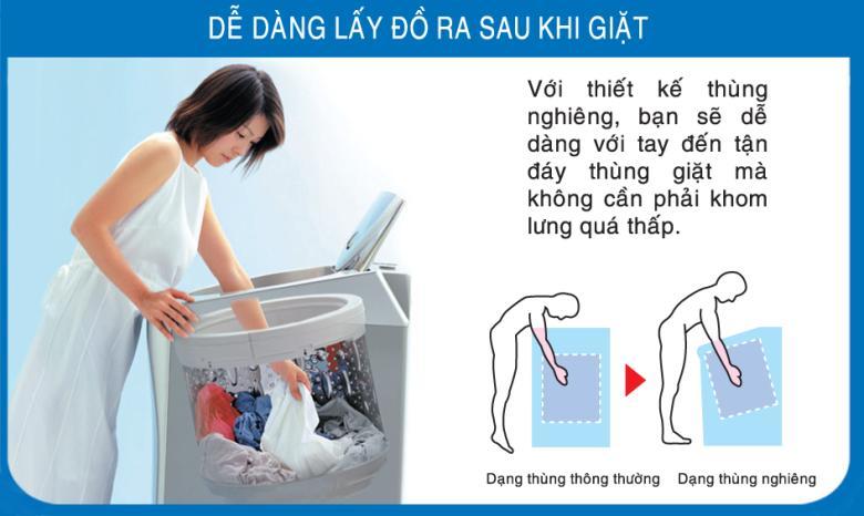 Thùng giặt nghiêng tiện cho việc lấy quần áo