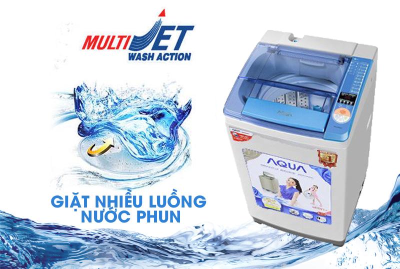 Với Multi Jet, máy giặt Aqua AQW-U800Z1T sẽ cung cấp cho người dùng những luồng nước mạnh mẽ
