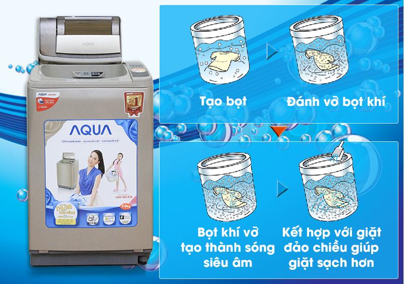 Máy giặt Aqua AQW-U800Z1T với công nghệ sử dụng sóng siêu âm sẽ đánh tan những bọt li ti trong khoảng thời gian ngắn