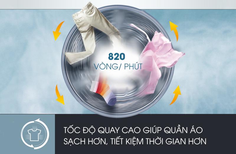 Máy giặt Aqua AQW-U800Z1T có tính năng vắt cực khô với tốc độ xoay của lồng giặt cao