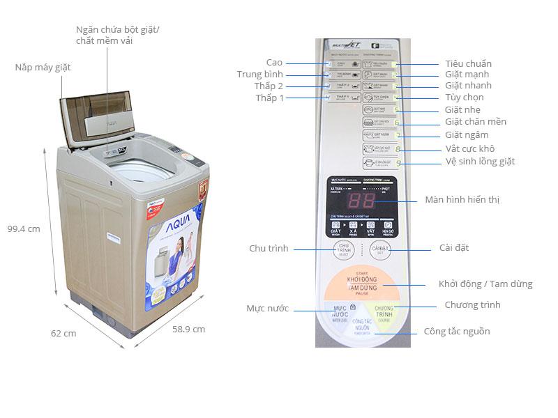 Thông số kỹ thuật Máy giặt Aqua 8 kg AQW-F800Z1T