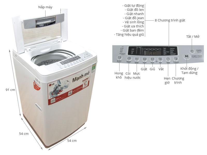Thông số kỹ thuật Máy giặt LG 8 kg WF-S8019BW