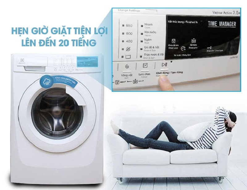 Tính năng hẹn giờ giặt từ máy giặt Electrolux EWF10843 sẽ giúp bạn kiểm soát được thời gian giặt áo quần