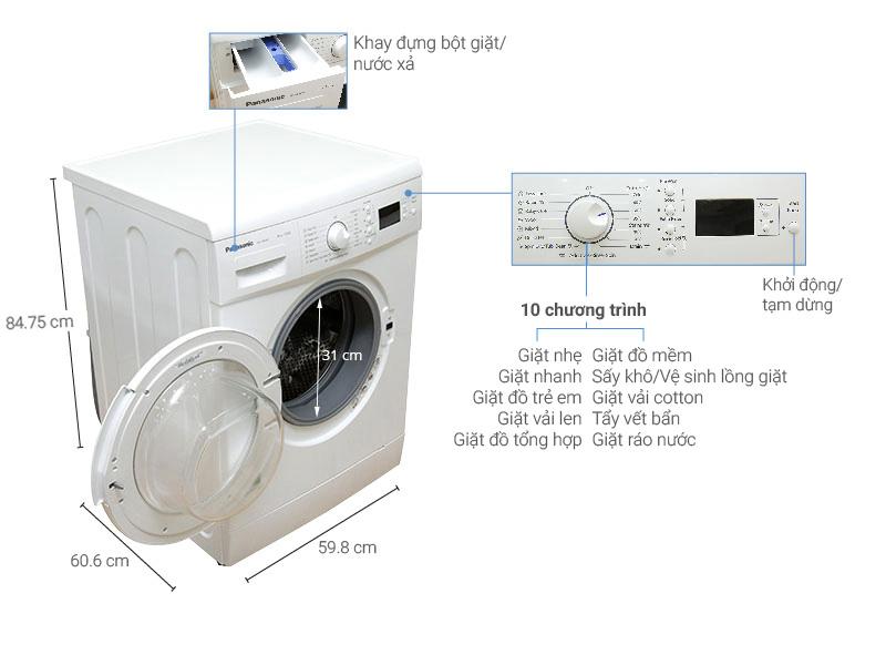 Thông số kỹ thuật Máy giặt Panasonic 8 kg NA-108VK5WVT