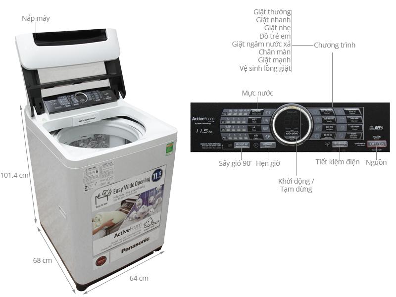 Thông số kỹ thuật Máy giặt Panasonic 11.5 kg NA-F115A1WRV