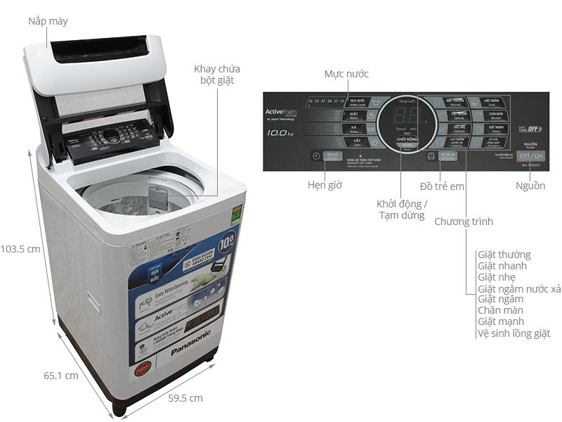 Thông số kỹ thuật Máy giặt Panasonic 10 kg NA-F100A1WRV