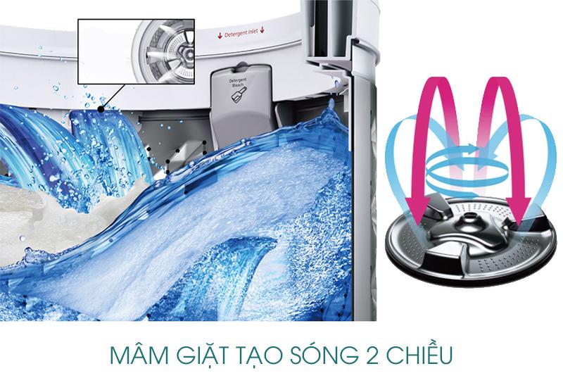 Ngoài ra, máy giặt Panasonic NA-F100A1WRV có thiết kế mâm giặt tạo sóng 2 chiều