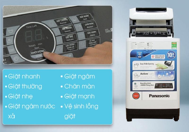 Để đảm bảo quần áo được giặt sạch sẽ đồng thời tiết kiệm điện, nước, máy giặt Panasonic NA-F100A1WRV đã trang bị trên máy giặt 8 chương trình giặt tiện ích